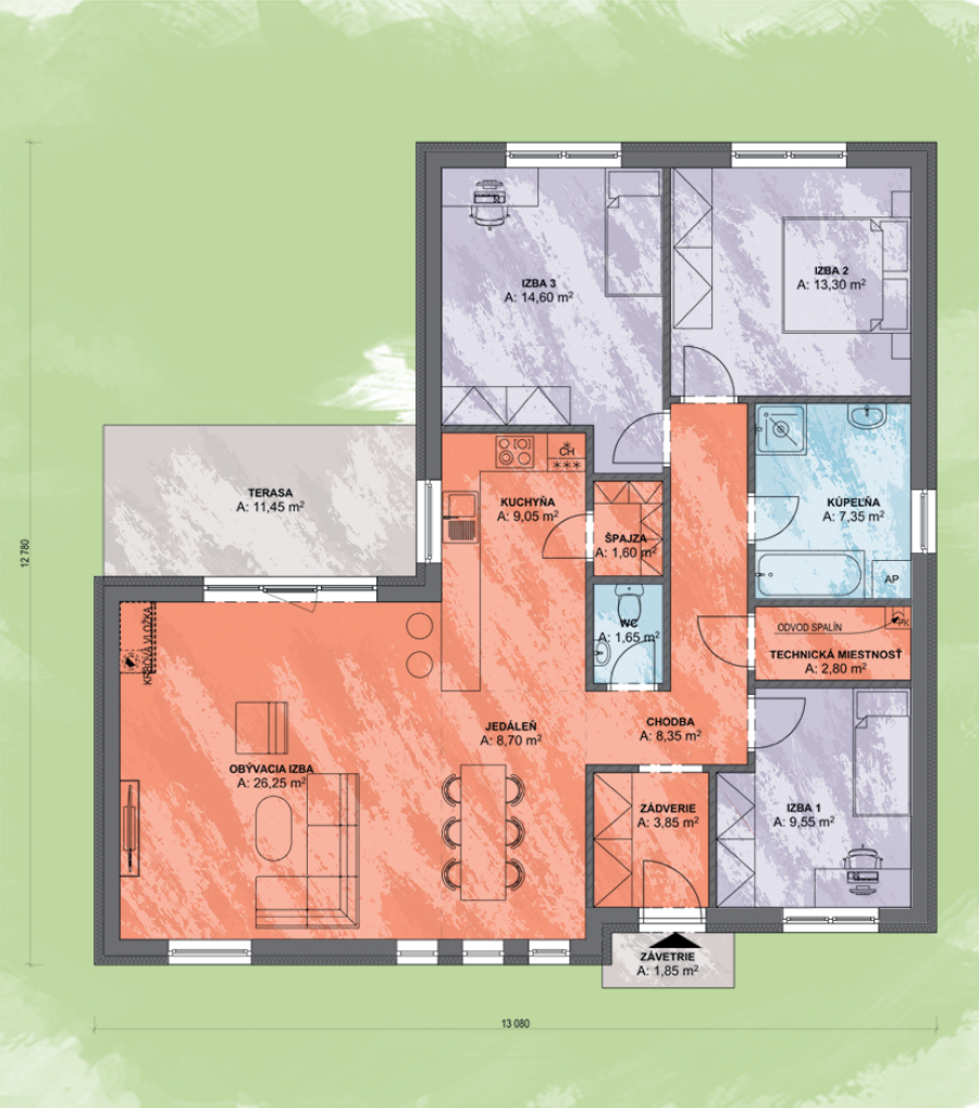 projekt-domu-Bungalov_Angi 3 Design Podorys - Bungalov ANGI 3 | Familyhouse