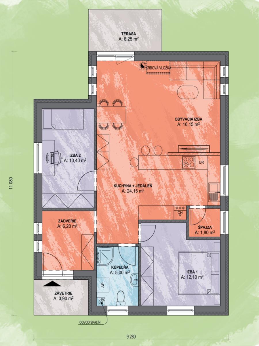 Bungalov Bea 1 Design Podorys - Bungalov BEA 1 | Familyhouse