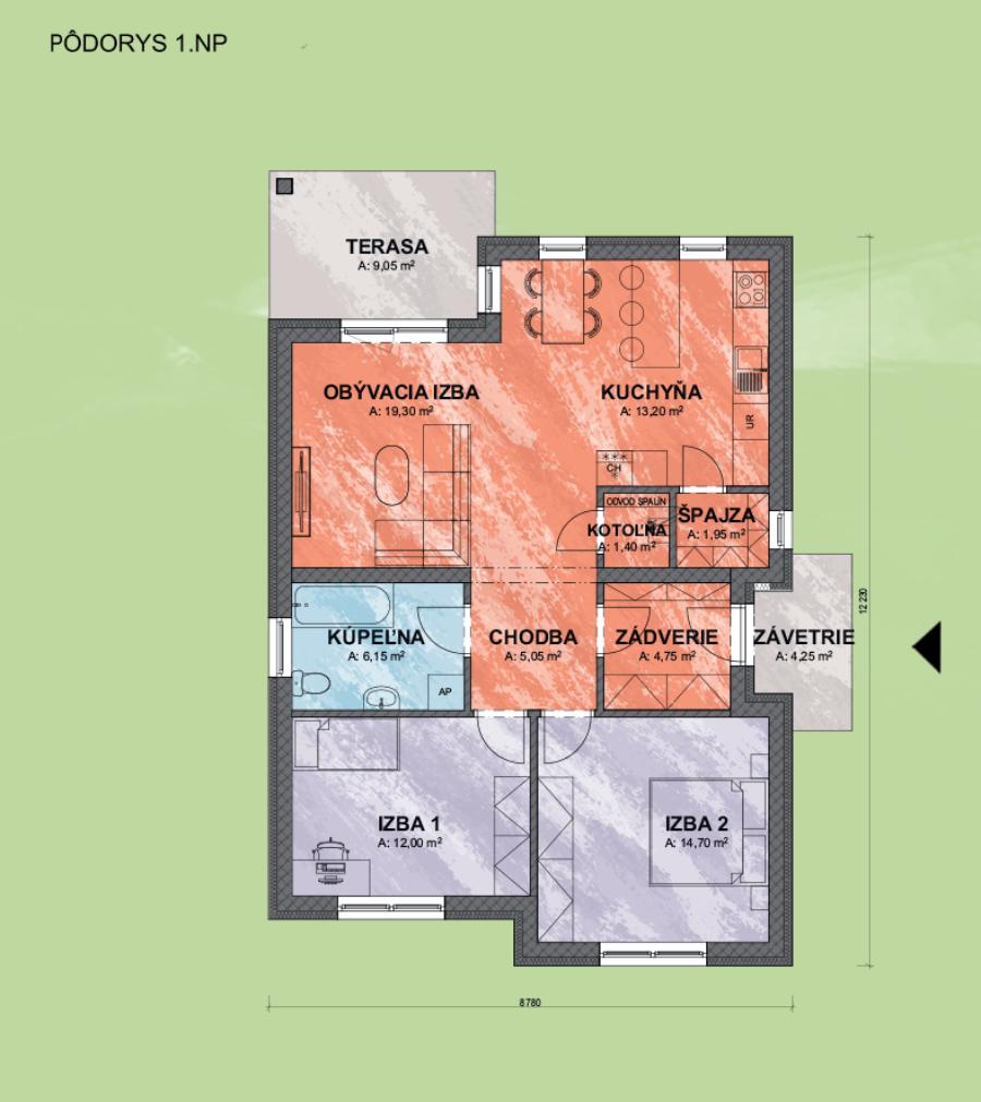 Bungalov Bea 2 design podorys - Bungalov BEA 2 | Familyhouse
