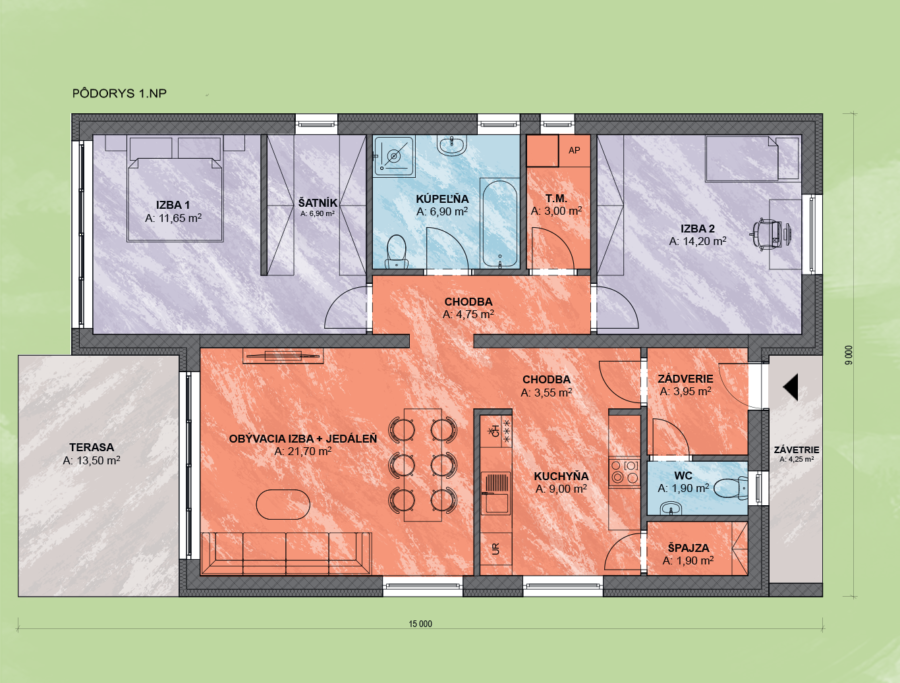 Bungalov Bea 5 Design Podorys - Bungalov BEA 5 | Familyhouse