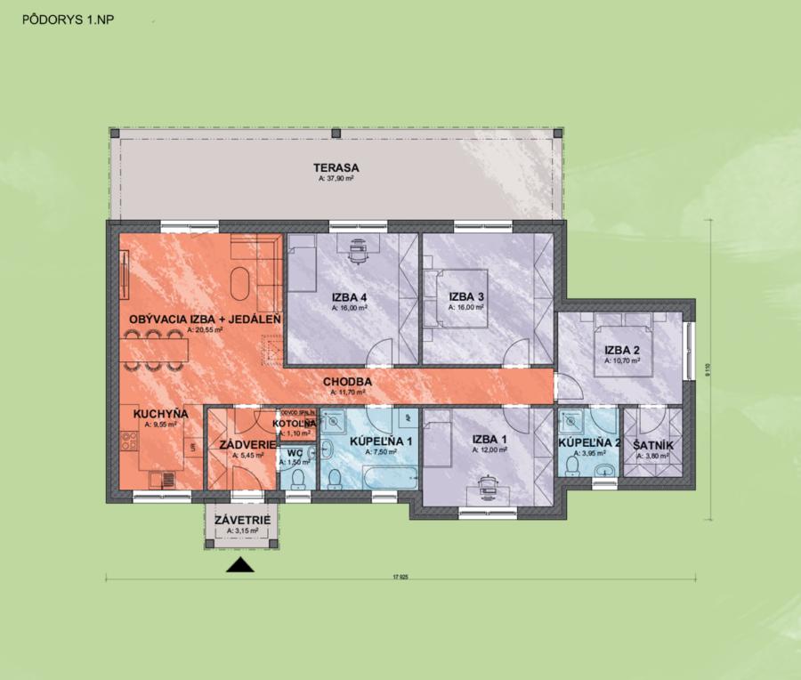 Emily 1 design podorys - Bungalov EMILY 1 | Familyhouse