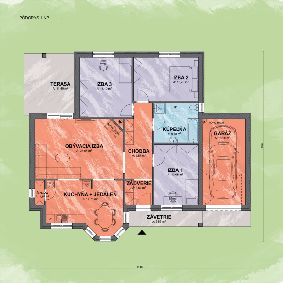 Bungalov Emma 11 design podorys - Bungalov EMMA 11   Familyhouse