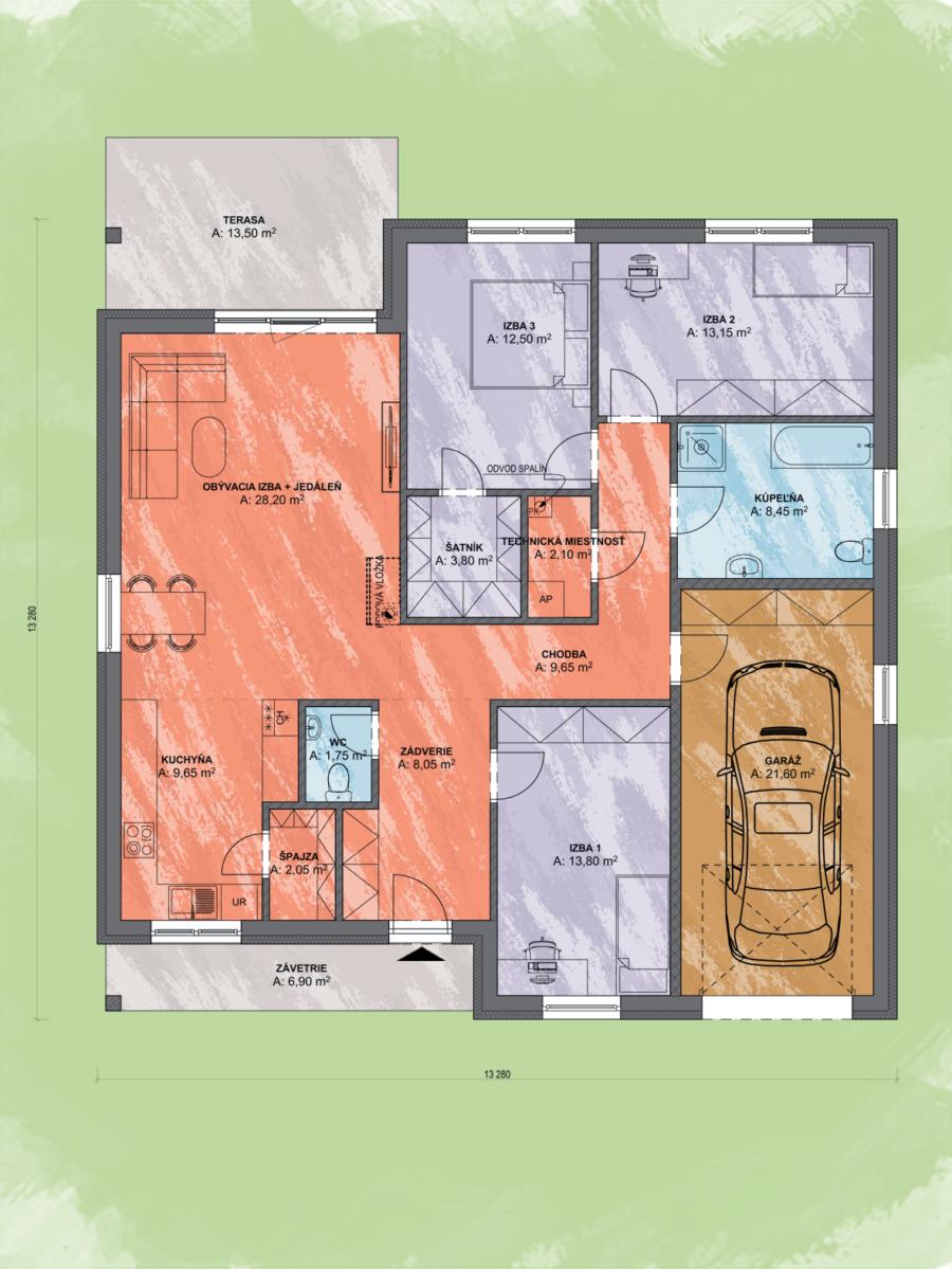 Bungalov Emma 2 Design Podorys - Bungalov EMMA 2   Familyhouse