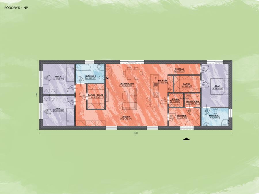Bungalov Emma 7 Design Podorys - Bungalov EMMA 7 | Familyhouse