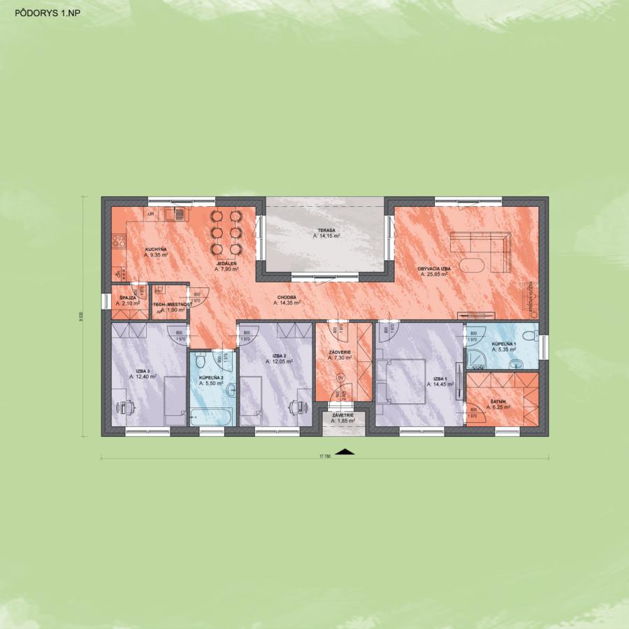 Bungalov Emma 8 Design Podorys - Bungalov EMMA 8 | Familyhouse