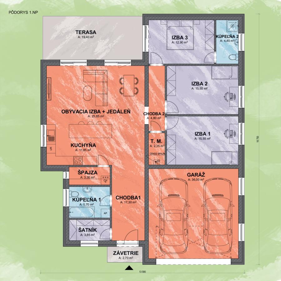Bungalov Enos 2 design podorys - Bungalov ENOS 2 | Familyhouse