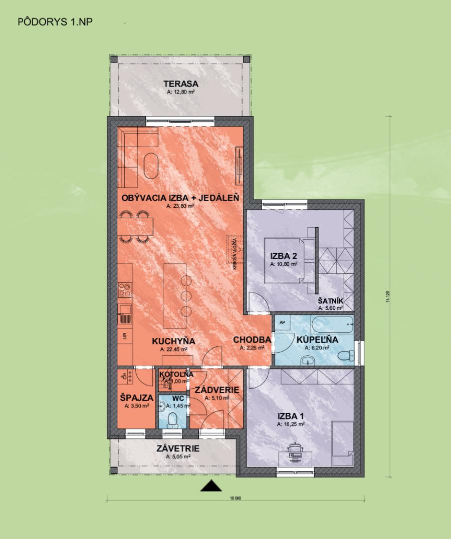 Bungalov Eva 4 design podorys - Bungalov EVA 4 | Familyhouse