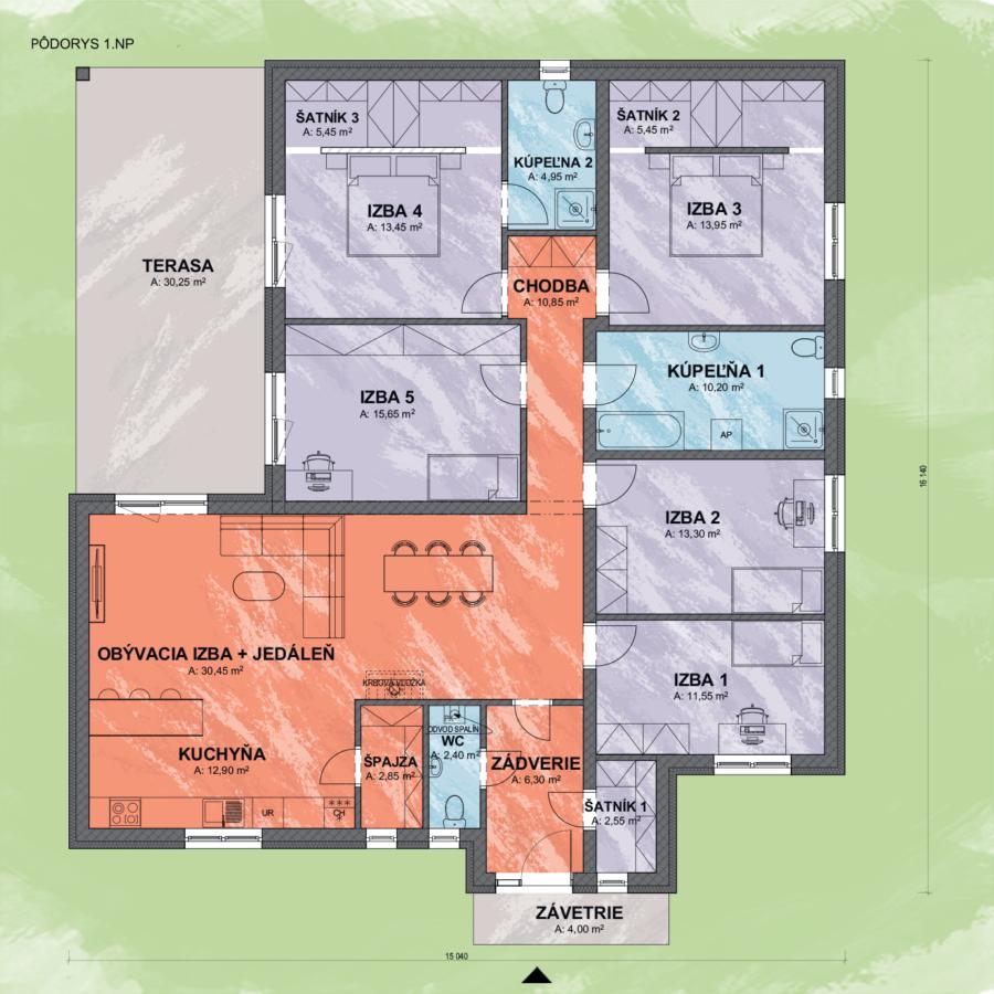 Bungalov Isabella 1 design podorys - Bungalov ISABELLA 1 | Familyhouse