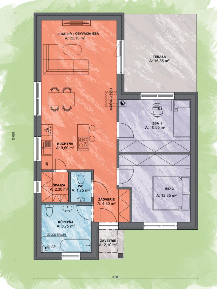 Bungalov Lea 1 Design Podorys - Bungalov LEA 1 | Familyhouse