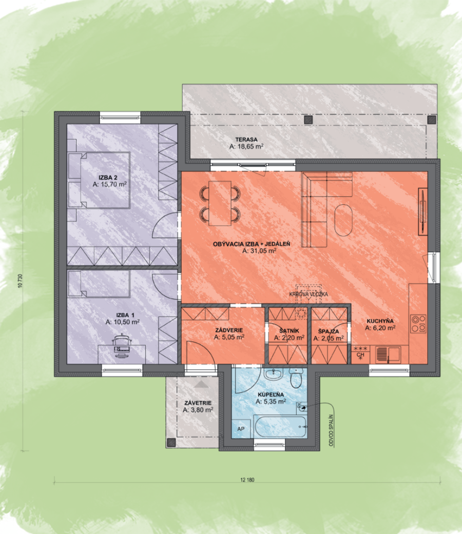 Bungalov Lea 2 Design Podorys - Bungalov LEA 2 | Familyhouse