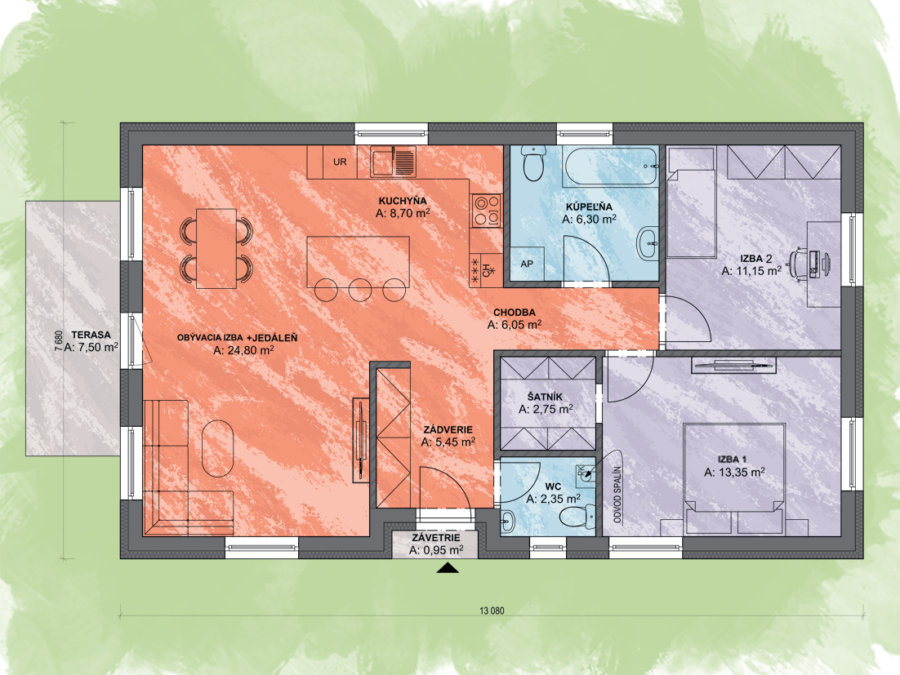 Bungalov Lea 3 Design Podorys - Bungalov LEA 3 | Familyhouse