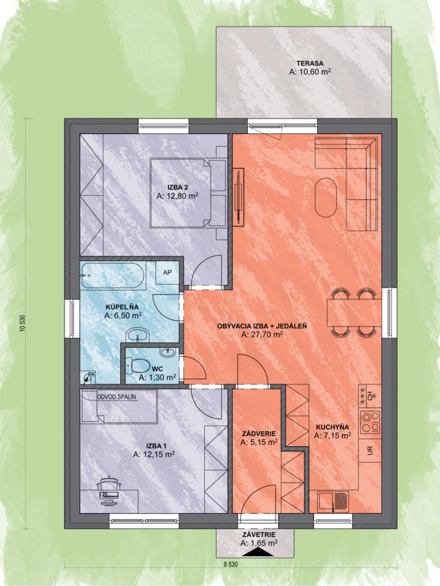 Bungalov Lea 4 Design Podorys - Bungalov LEA 4 | Familyhouse