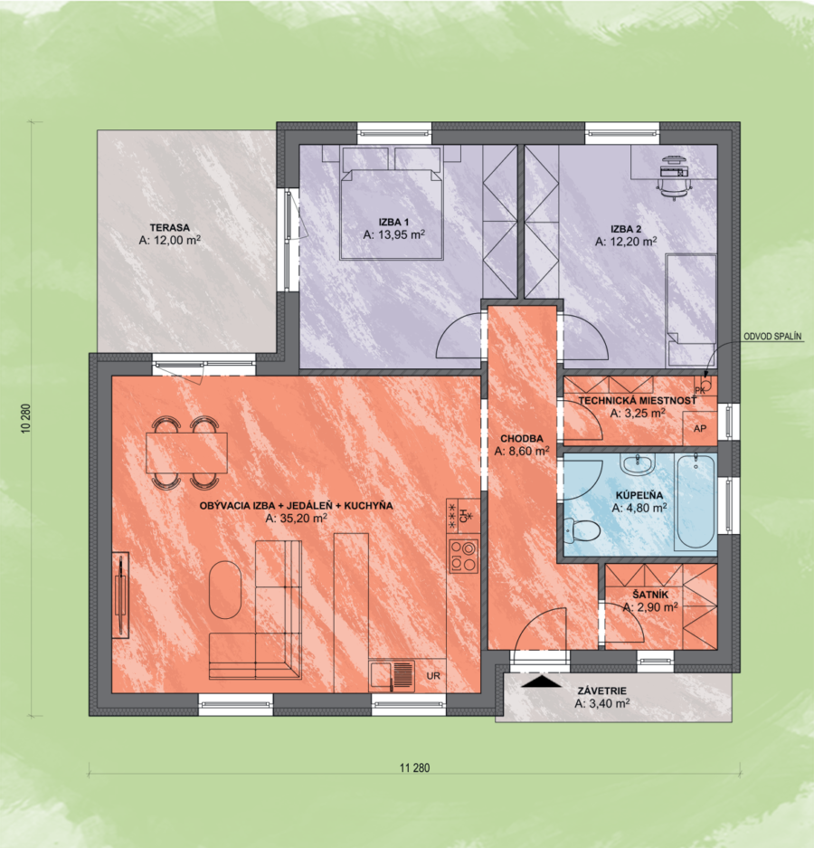 Bungalov Lea 5 Design Podorys - Bungalov LEA 5 | Familyhouse