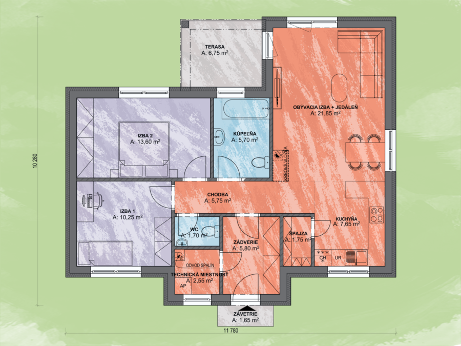 Bungalov Lea 6 Design Podorys - Bungalov LEA 6 | Familyhouse