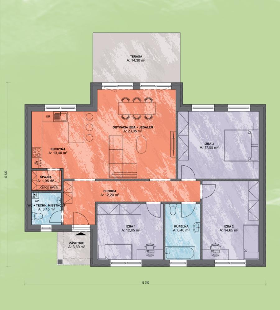 Bungalov Luna 11 Design Podorys - Bungalov LUNA 11   Familyhouse