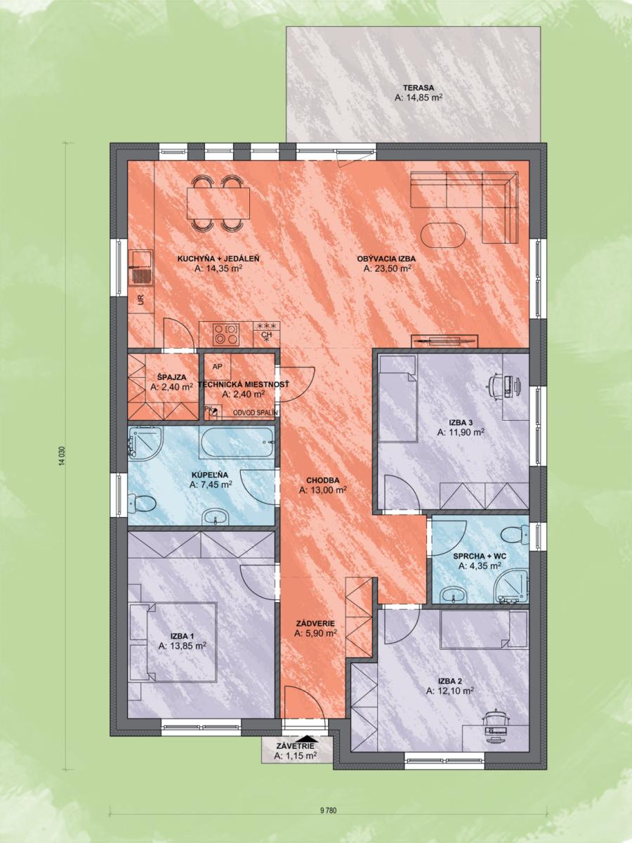 Bungalov Luna 17 Design Podorys - Bungalov LUNA 17 | Familyhouse