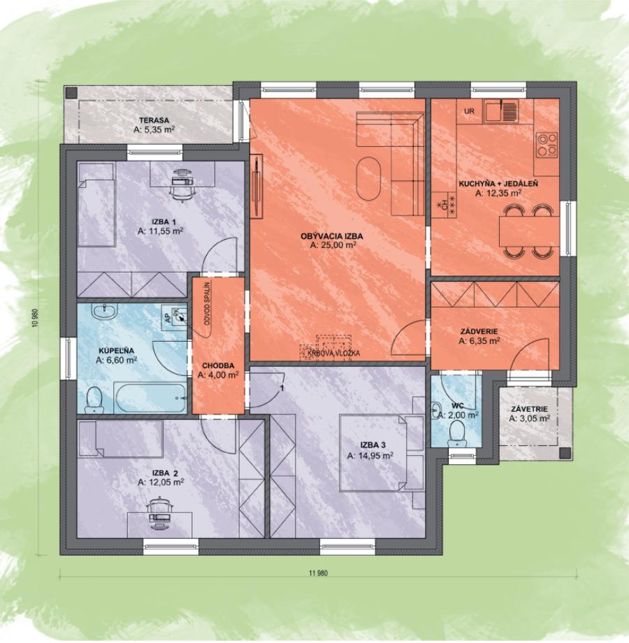Bungalov Luna 2 Design Podorys - Bungalov LUNA 2 | Familyhouse