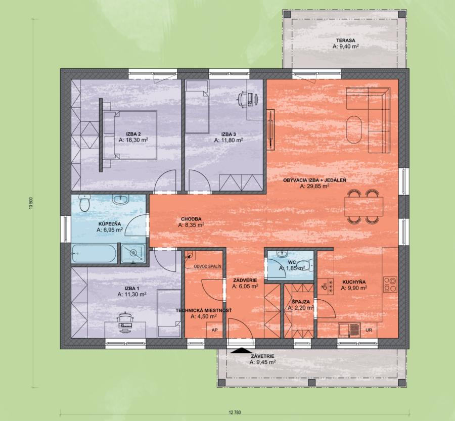 Bungalov Luna 21 Design Podorys - Bungalov LUNA 21 | Familyhouse
