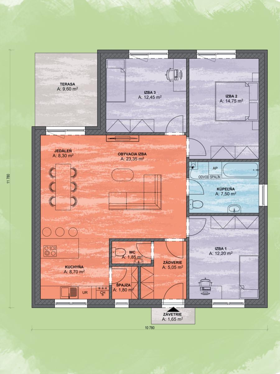 Bungalov Luna 22 Design Podorys - Bungalov LUNA 22 | Familyhouse