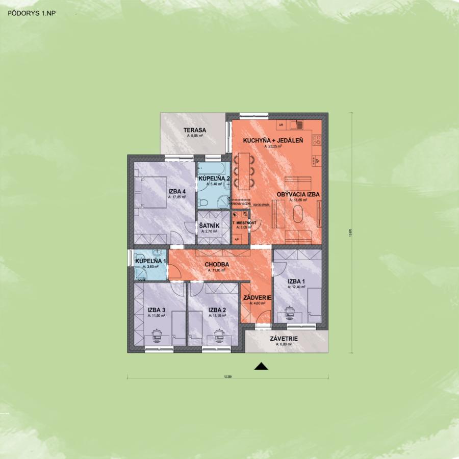 Bungalov Sarah 2 design podorys - Bungalov SARAH 2 | Familyhouse