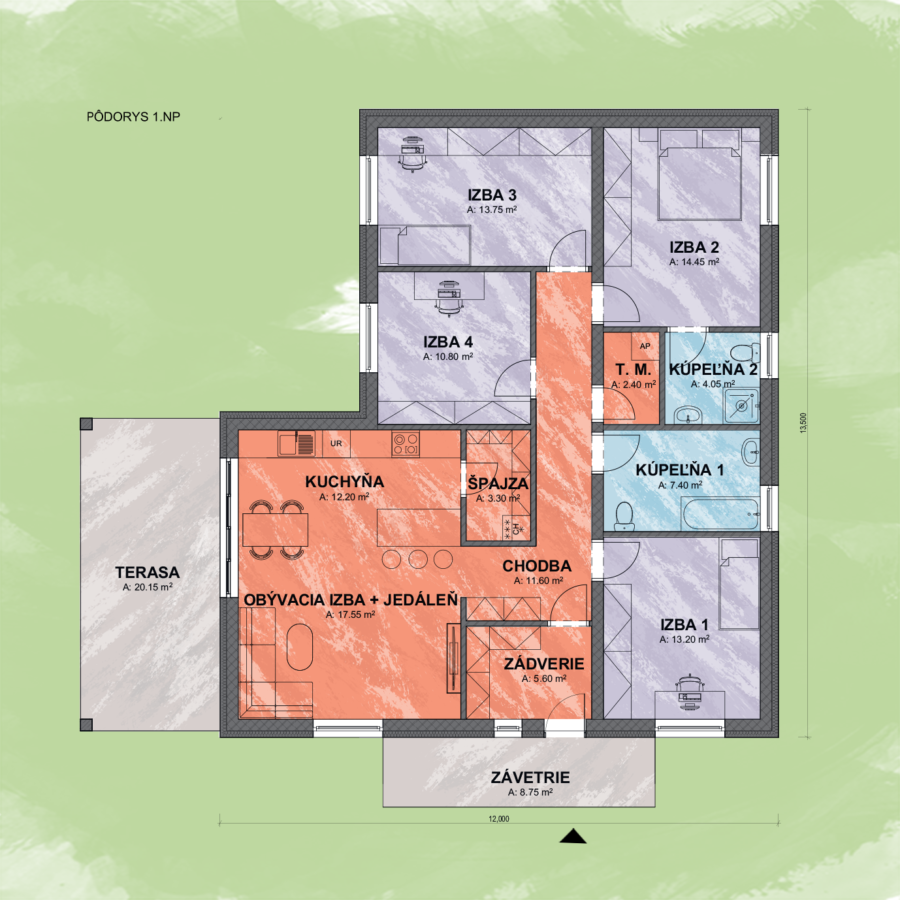 Bungalov Sarah 4 Design Podorys - Bungalov SARAH 4 | Familyhouse