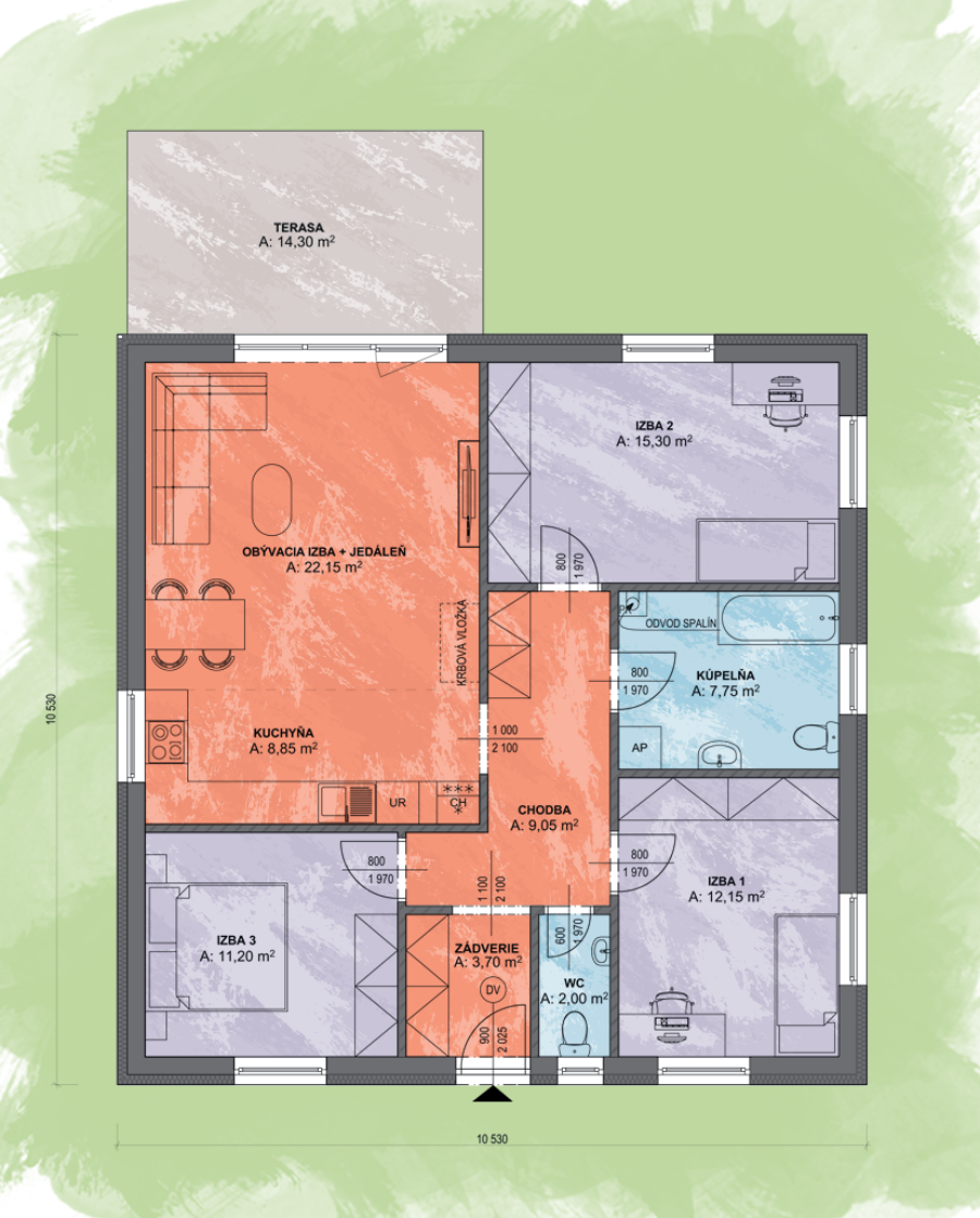Luna 1 Design Podorys - LUNA 1 | Familyhouse