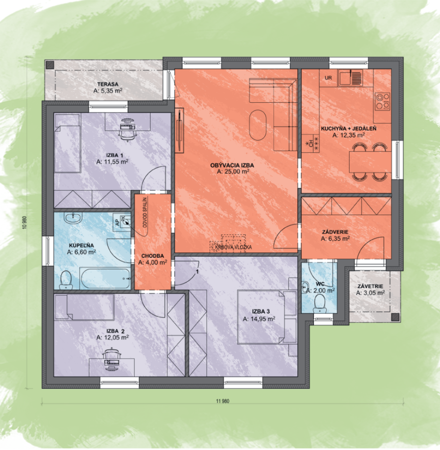 Luna 2 Design Podorys - LUNA 2 | Familyhouse