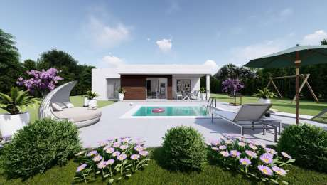 Projekt domu LADY 4 vizualizácia zadnej strany - Bungalov LADY 2   Familyhouse