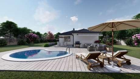 Projekt domu LEA 1 vizualizácia zadnej strany - Bungalov LEA 5 | Familyhouse