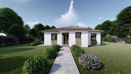 Projekt domu LEA 2 vizualizácia vchodu - Bungalov LEA 5 | Familyhouse