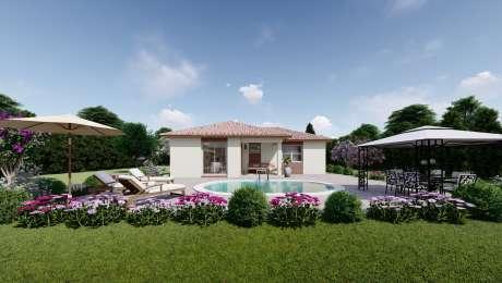 Projekt domu LEA 6 vizualizácia zadnej strany - Bungalov LEA 5 | Familyhouse