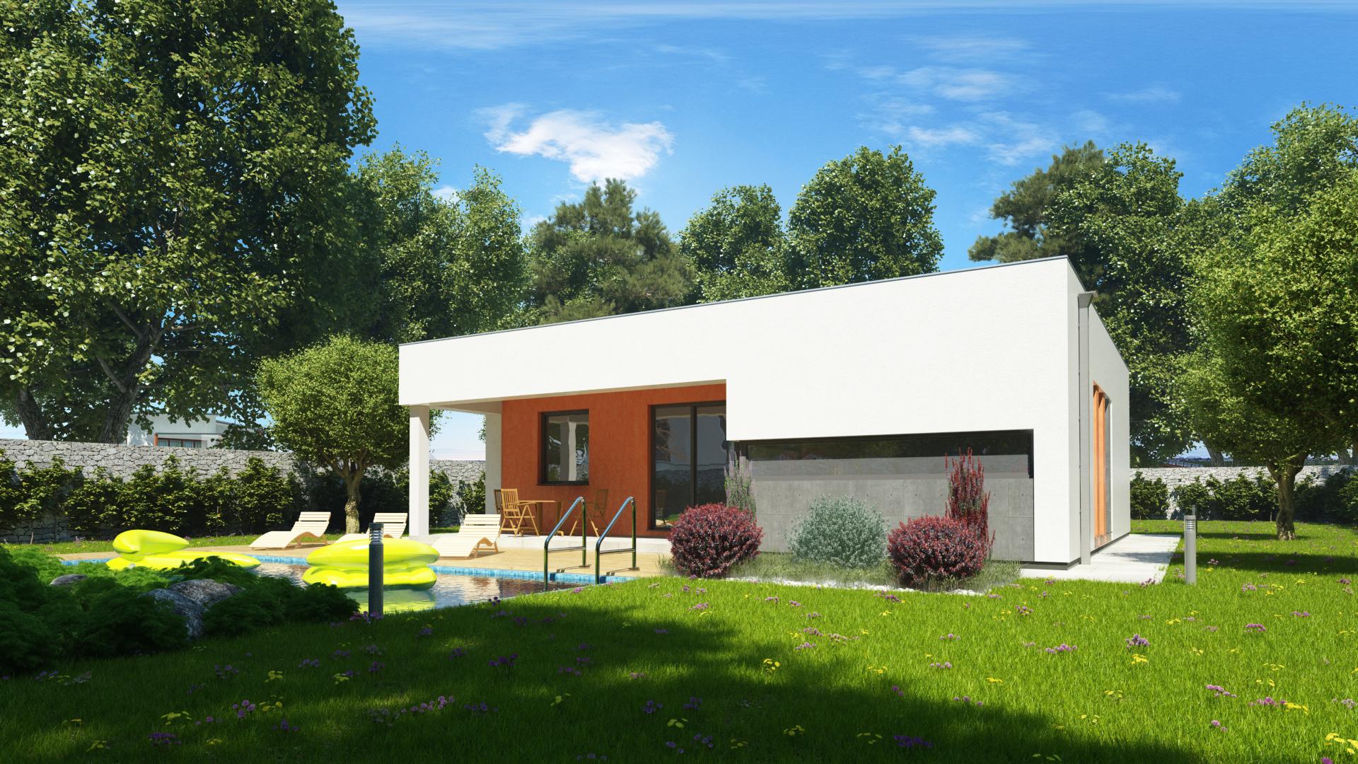 Projekt domu SIMI 4 - terasa s bazénom