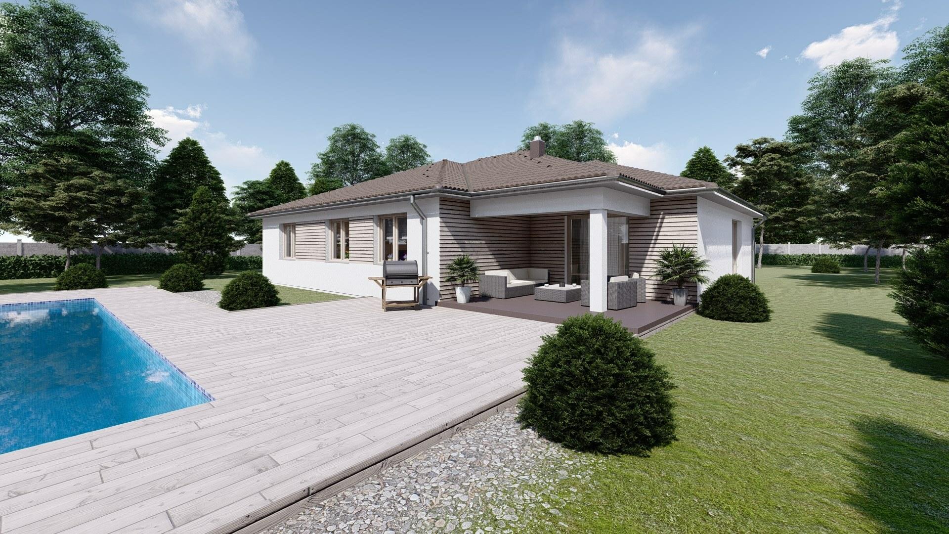 Projekt bungalov GABRIELA 2 vizualizácia zadnej bočnej strany2
